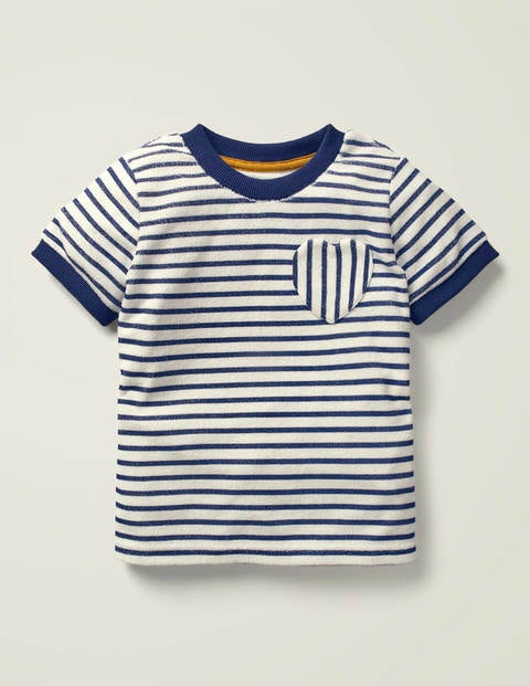 Towelling T-shirt - White/Indigo Navy