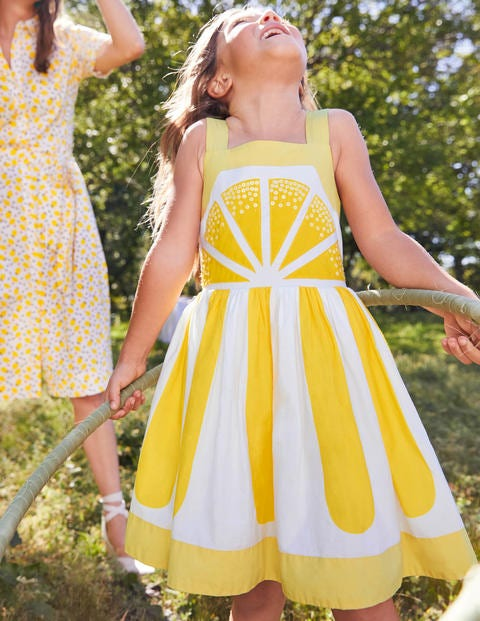 Lemon Embellished Dress - Daffodil Lemon Yellow