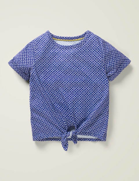 Tie-Front Top - Bright Blue Diamond Geo