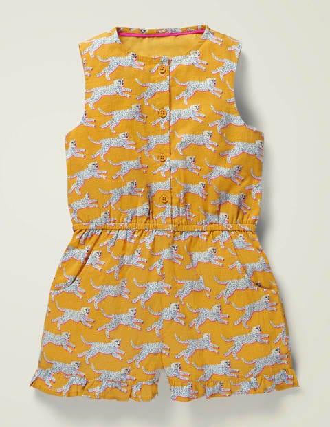 Combishort tissé et boutonné - Guépard jaune soleil toscan