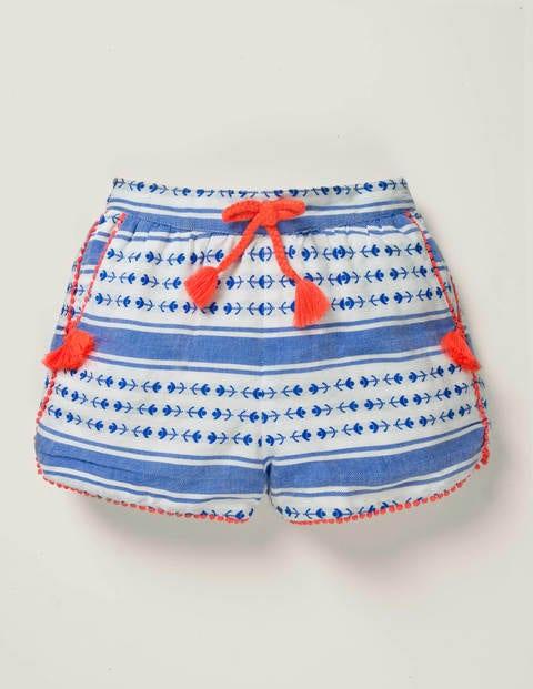 Bold Stripe Tassel Shorts - Bold Blue Dobby Stripe