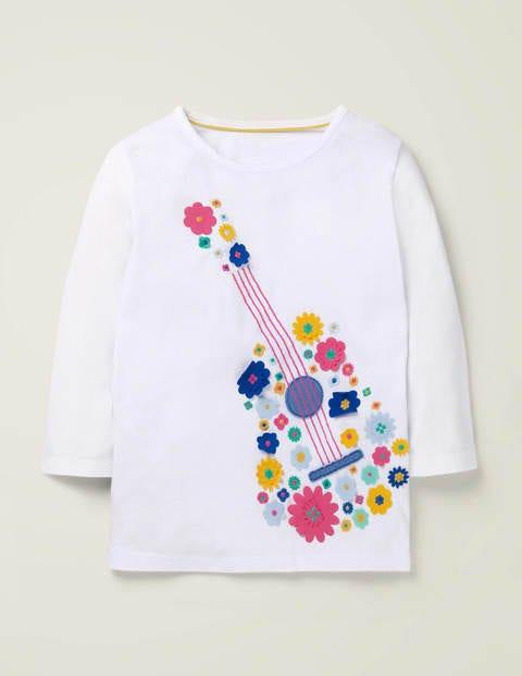 Music Flutter T-Shirt - White Floral Guitar