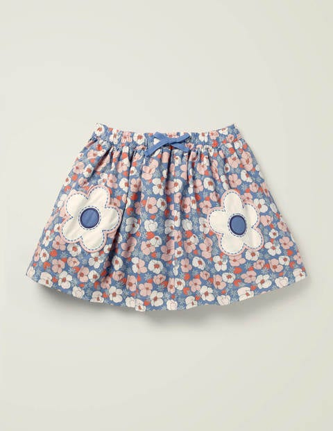 Novelty Pocket Woven Skirt - Seascape Berry Bloom