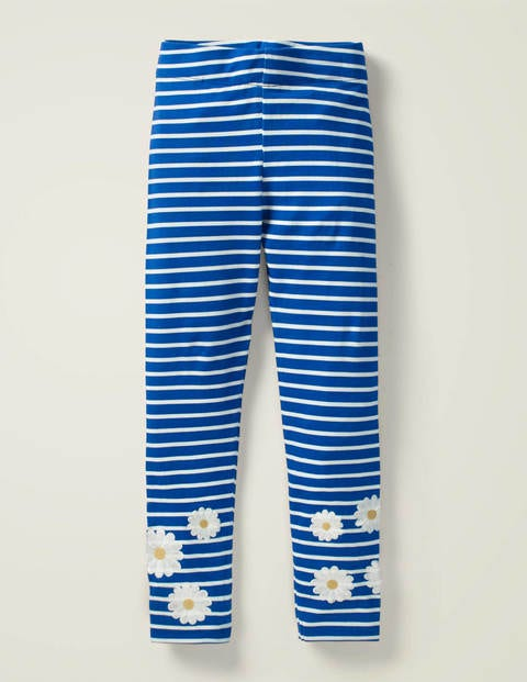 Fun Embroidered Leggings - Bold Blue/ White Daisy