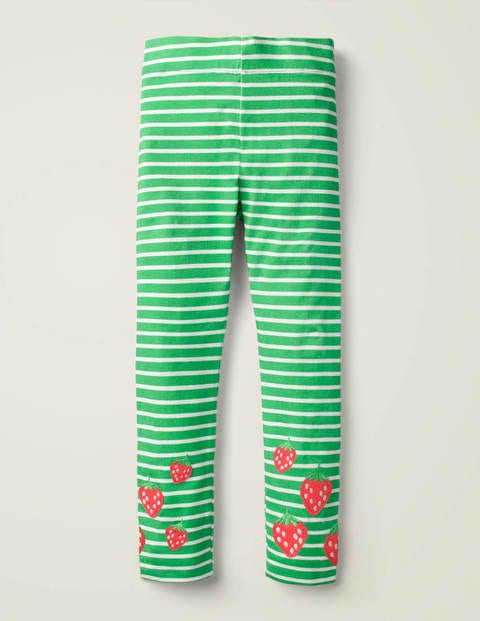 Fun Embroidered Leggings - Pea Green/ White Strawberry