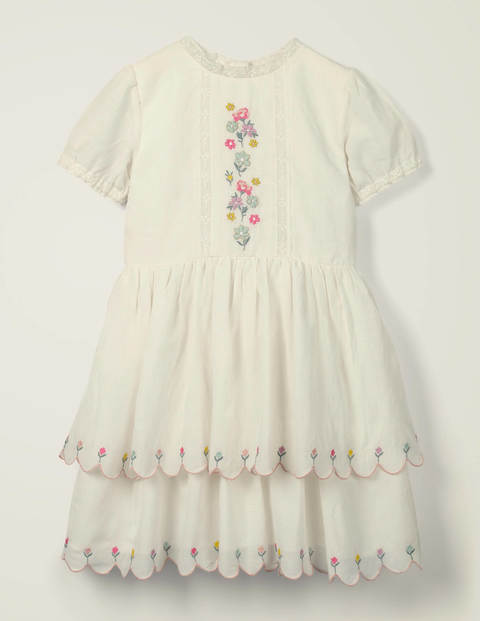 Embroidered Scallop Dress