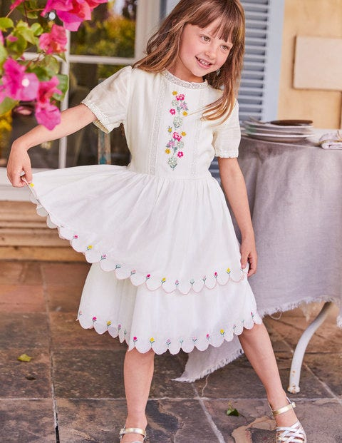 Embroidered Scallop Dress - Ivory