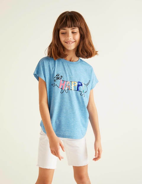Sequin Change T-shirt - Surfboard Blue Sausage Dog