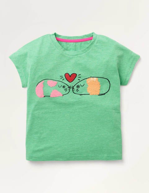 Sequin Change T-shirt - Pea Green Guinea Pigs