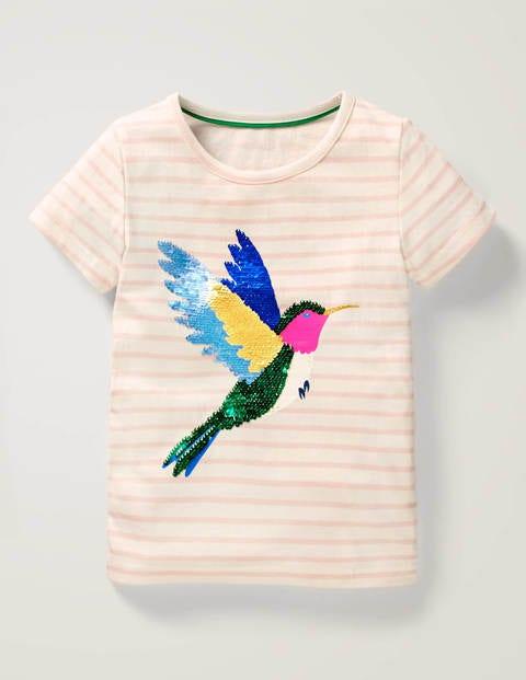 Gestreiftes T-Shirt Mit Farbwechselnden Pailletten - Weiß/Delfinrosa, Vogel
