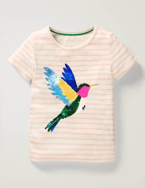 Stripy Sequin Change T-shirt - White/Boto Pink Bird