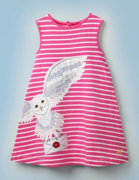 Stripy Appliqué Hedwig Dress - Pink Sorbet/Ivory