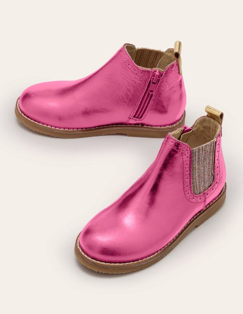 Leather Chelsea Boots - Pink Metallic