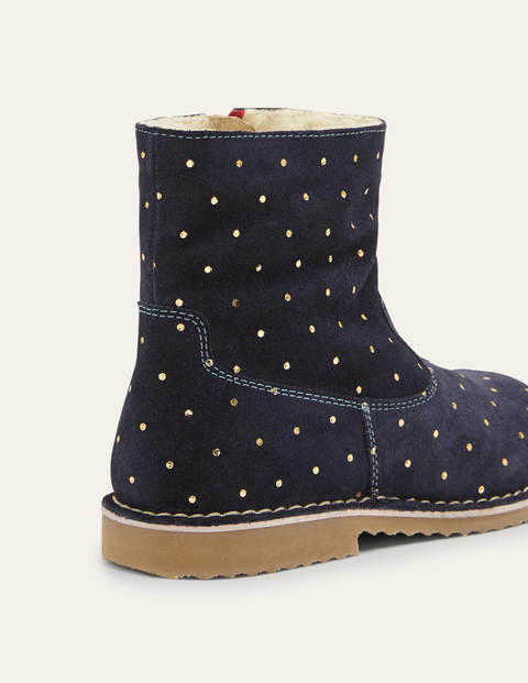Cosy Short Leather Boots - College Navy