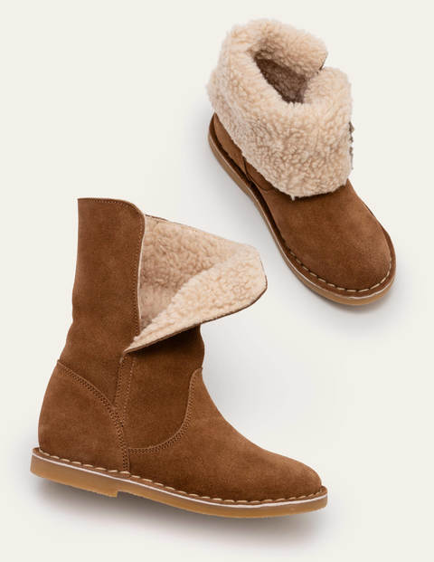 Cosy Suede Boots - Tan Brown