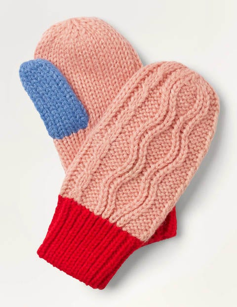 Chunky Cable Mittens - Formica Pink