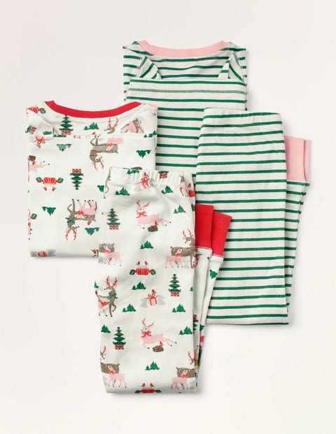 Twin Pack Long John Pajamas - Ivory Festive Friends/Forest