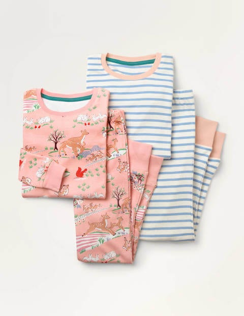 Twin Pack Long John Pyjamas - Pink Woodland/Blue Stripe