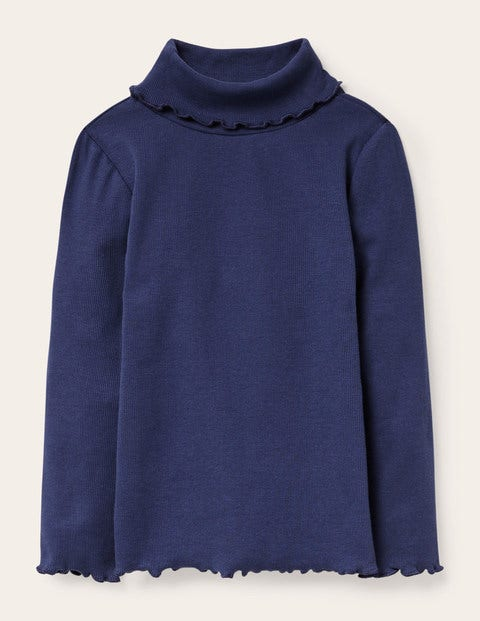 Ruffle Roll Neck T-shirt - Starboard Blue