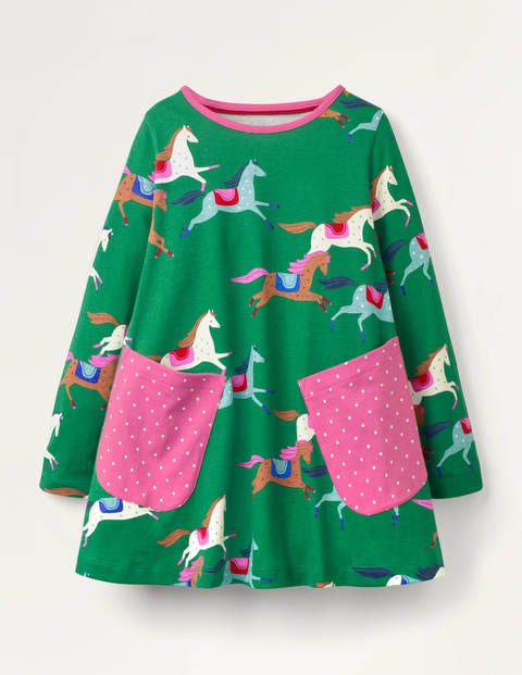Printed Jersey Pocket Tunic - Highland Green Horses