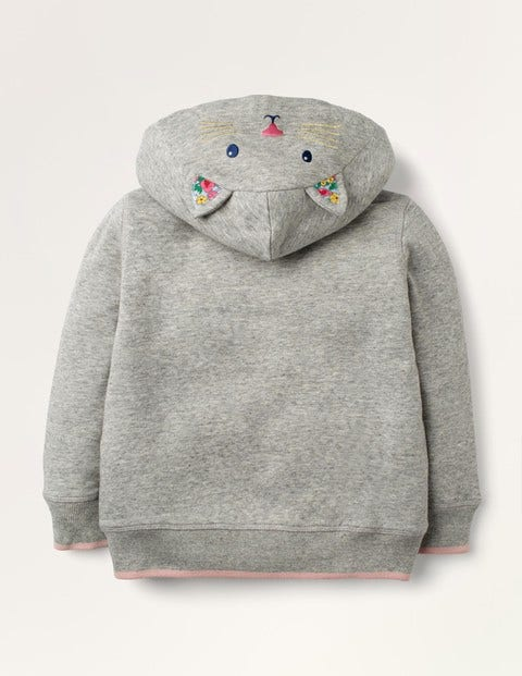 Fun Shaggy-Lined Hoodie - Grey Marl Cat
