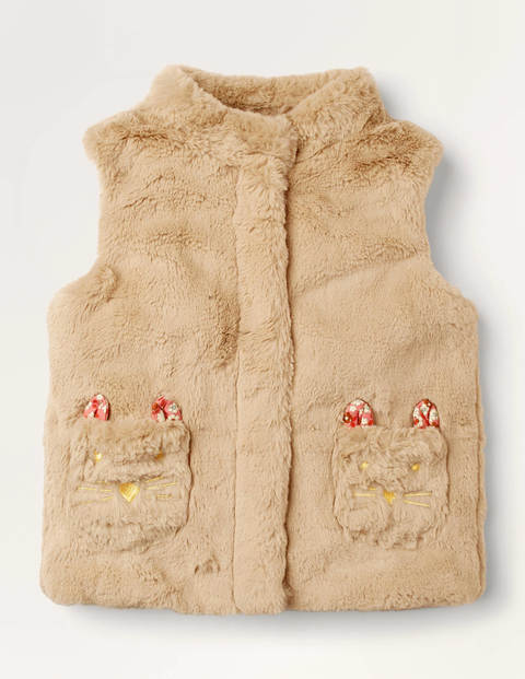Cat Pocket Faux Fur Gilet