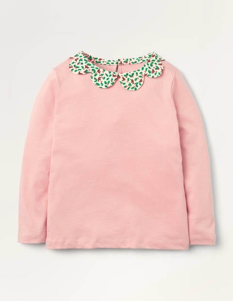Woven Collar Jersey Top - Boto Pink Robins