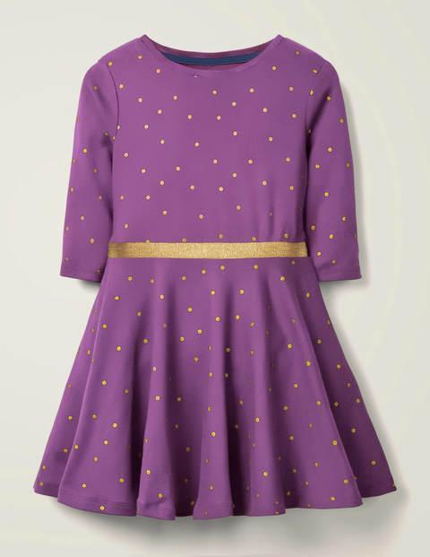 Gepunktetes Jerseykleid - Violett, Folientupfen