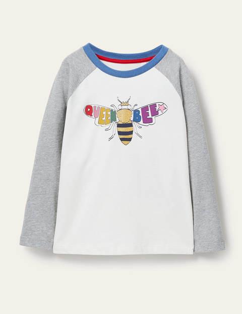 T-shirt raglan à logo - Reine des abeilles ivoire/gris chiné