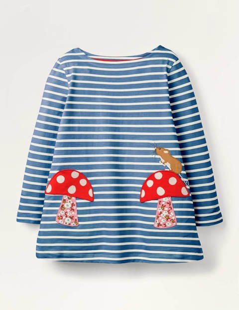 Appliqué Pocket Tunic - Blue/Ivory Toadstool
