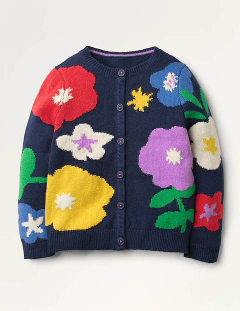 Fun Cardigan - College Navy Flowers