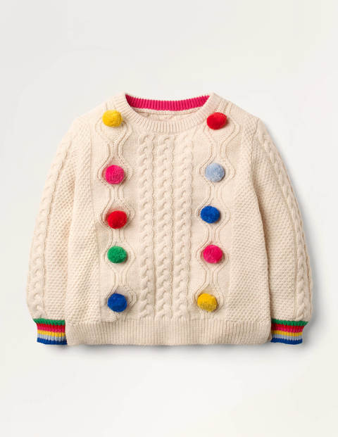 Rainbow Pompom Cable Sweater