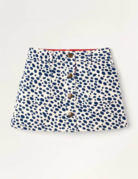 Button-through Dalmatian Skirt - Ivory and Navy Dalmatian Spot