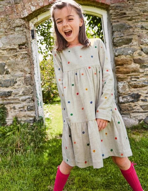 Tiered Woven Dress - Oatmeal Marl Woodland