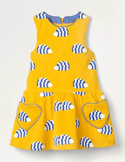 Heart Pocket Woven Dress - Honeycomb Yellow Hedgehogs
