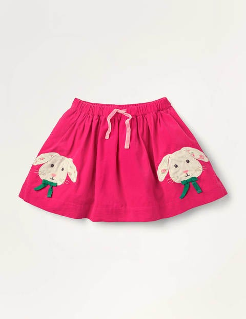 Bunny Appliqué Cord Skirt - Bright Pink Bunnies