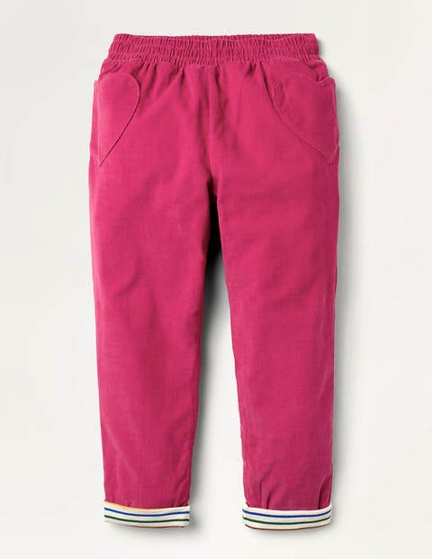 Lined Pull-on Cord Trousers - Candy Pink