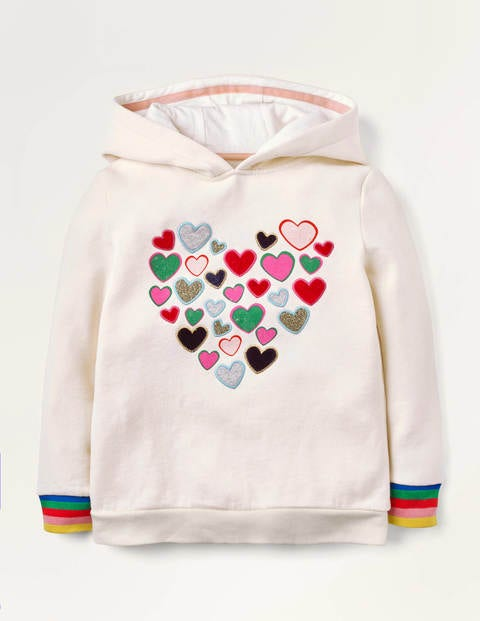 Cosy Sparkle Appliqué Hoodie - Ivory Hearts