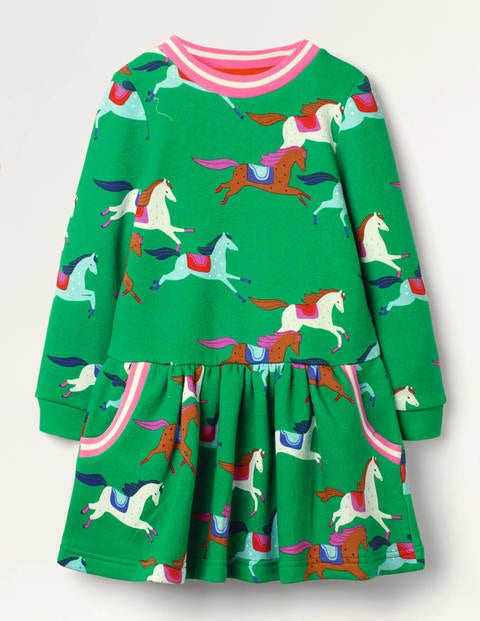 Cosy Printed Sweatshirt Dress - Highland Green Horses