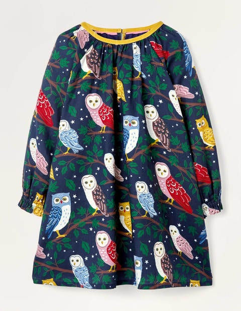 Owl Brushed Cotton Dress