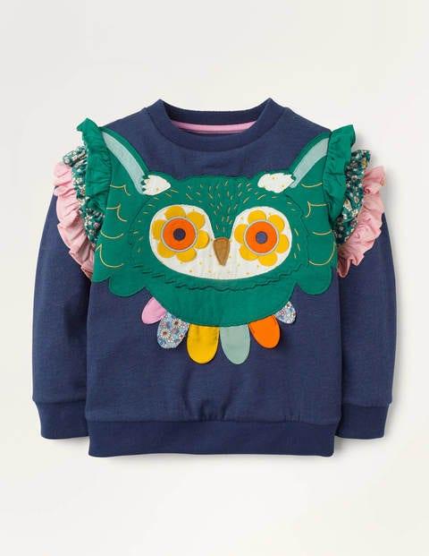 Owl Appliqué Sweatshirt - College Navy Owl