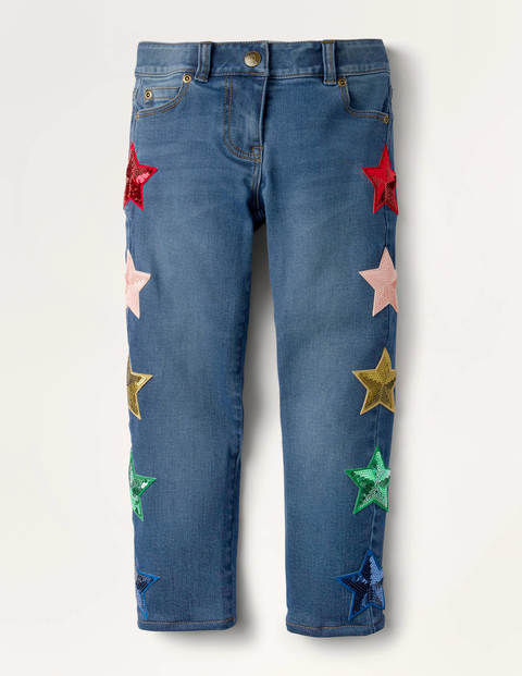 Embellished Sequin Star Jeans - Mid Vintage Denim