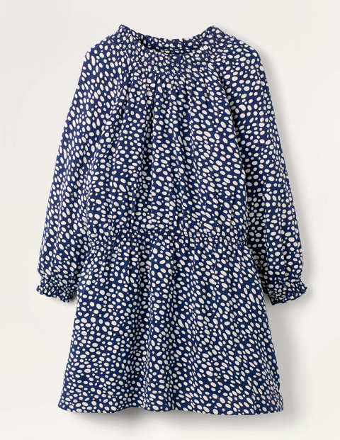 Smocked Spot Woven Dress - Navy/Ivory Dalmatian Spot
