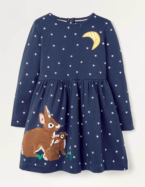 Woodland Animal Appliqué Dress - Navy and Gold Foil Bunnies