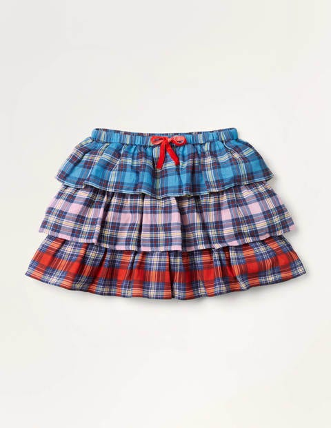 Woven Tiered Check Skirt - Multi Hotchpotch Check
