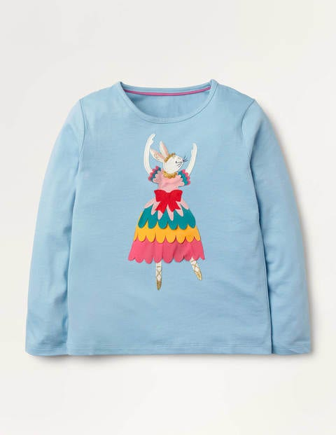 Ballerina Appliqué T-shirt - Frost Blue Rabbit