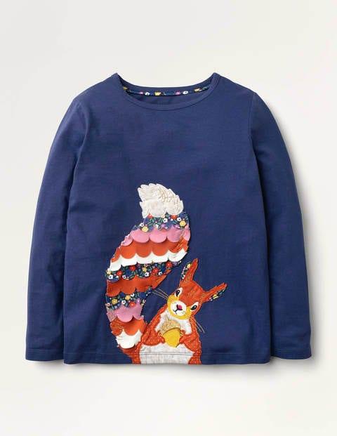 Animal Appliqué T-shirt - Starboard Blue Squirrel
