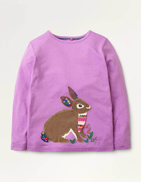 Animal Appliqué T-shirt - Lupin Purple Bunny