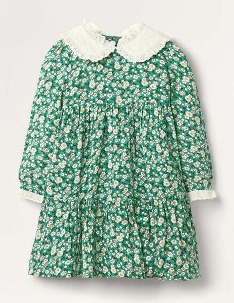 Lace Collar Tiered Woven Dress - Sardinia Green Vintage Daisy