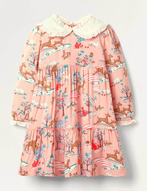 Lace Collar Tiered Woven Dress - Boto Pink Woodland Scene